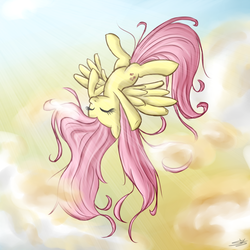 Size: 900x900 | Tagged: artifact, artist:speccysy, cloud, cloudy, cute, cutie mark, dead source, derpibooru legacy, eyes closed, female, first fluttershy picture on derpibooru, fluttershy, flying, happy, index get, long hair, mare, messy mane, milestone, one of the first, outdoors, pegasus, pony, safe, shyabetes, signature, sky, smiling, solo, spread wings, stretching, sunlight, sunshine, sweet dreams fuel, upside down, wings