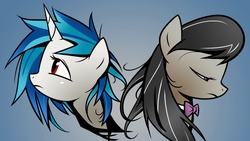 Size: 1920x1080 | Tagged: safe, artist:yikomega, color edit, edit, dj pon-3, octavia melody, vinyl scratch, earth pony, pony, unicorn, 16:9, 1920x1080, bowtie, colored, duo, duo female, female, first dj pon-3 picture, first octavia picture, first vinyl scratch picture, frown, gimp, gradient background, horn, looking down, looking up, mare, messy mane, missing accessory, no glasses, one of the first, red eyes, sad, wallpaper