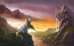 Size: 1680x1050   Tagged: safe, artist:moe, derpy hooves, pegasus, pony, canterlot, canterlot mountain, castle, cliff, cloud, cloudy, envelope, epic derpy, featured image, female, forest, grass, mail, mailbag, mailmare, mare, mountain, nature, overlooking, river, scenery, scenery porn, signature, sitting, sky, solo, sunrise, sunset, technically advanced, tree, valley, wallpaper, water, waterfall, we miss moe, wind, windswept mane, wings