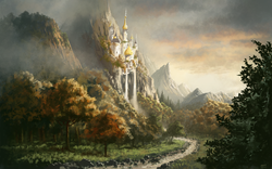 Size: 1980x1238 | Tagged: safe, artist:moe, canterlot, castle, cliff, cloud, detailed background, fog, forest, grass, mountain, mountain range, nature, no pony, outdoors, path, river, scenery, scenery porn, signature, sunset, technically advanced, town, tree, water, waterfall, widescreen, wood