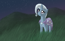 Size: 2048x1280 | Tagged: safe, artist:karidyas, trixie, pony, unicorn, female, grass, hill, hope, looking up, mare, moon, night, night sky, photoshop, reflection, smiling, solo, stars, wallpaper
