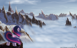 Size: 1900x1200 | Tagged: dead source, safe, artist:sonicrainboom93, twilight sparkle, pony, unicorn, cloud, cloudy, female, mare, mountain, mountain range, painting, scenery, scenery porn, signature, solo, unicorn twilight, windswept mane
