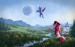 Size: 1680x1050 | Tagged: source needed, safe, artist:moe, pinkie pie, princess luna, alicorn, earth pony, pony, 16:10, beret, bipedal, celestial mechanics, creek, duo, duo female, easel, featured image, female, first alicorn picture on derpibooru, first luna picture on derpibooru, first pinkie pie picture on derpibooru, flower, flying, forest, frown, grass, hat, luna is not amused, magic, mare, moon, moon work, mountain, one of the first, open mouth, paint, paintbrush, painter, painting, palette, pointing, river, s1 luna, scenery, scenery porn, signature, sitting, spread wings, tree, unamused, valley, wallpaper, wings
