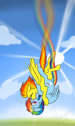 Size: 900x1500 | Tagged: safe, artist:calicopikachu, rainbow dash, spitfire, pegasus, artifact, blushing, cloud, cloudy, contrail, crepuscular rays, cute, cutefire, dashabetes, day, eyes closed, falling, female, first lesbian picture on derpibooru, first rainbow dash picture on derpibooru, first shipping picture on derpibooru, first spitfire picture on derpibooru, floppy ears, flying, hug, kissing, lesbian, mare, omote renge, one of the first, rainbow, rainbow trail, shipping, signature, sky, skyfall, spitdash, spread wings, sun, sunlight, sunshine, surprise kiss, surprised, wide eyes
