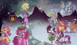 Size: 2800x1650 | Tagged: safe, artist:foreversoaring, angel bunny, apple bloom, applejack, derpy hooves, fluttershy, pinkie pie, princess celestia, rainbow dash, rarity, scootaloo, sweetie belle, twilight sparkle, alicorn, earth pony, pegasus, pony, unicorn, cookie, cutie mark crusaders, female, filly, glowing horn, levitation, magic, mane six, mare, snow, telekinesis, wallpaper