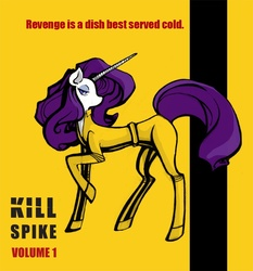 Size: 750x805 | Tagged: safe, artist:queen-le-fra-fra, rarity, pony, unicorn, clothes, crossover, female, get, index get, kill bill, mare, photoshop, repdigit milestone, solo