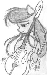 Size: 2047x3220 | Tagged: dead source, safe, artist:bronyfang, octavia melody, earth pony, pony, bipedal, cello, female, grayscale, high res, mare, monochrome, musical instrument, sketch, solo, traditional art