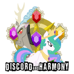 Size: 3300x3300 | Tagged: alicorn, artist:bronyfang, dead source, discord, draconequus, elements of harmony, female, high res, mare, photoshop, pony, princess celestia, safe, simple background, transparent background