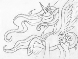 Size: 3116x2358 | Tagged: dead source, safe, artist:bronyfang, princess celestia, alicorn, pony, eyes closed, female, grayscale, high res, mare, monochrome, raised hoof, sketch, solo, spread wings, traditional art, wings