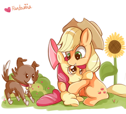Size: 600x542 | Tagged: safe, artist:ipun, apple bloom, applejack, winona, dog, earth pony, pony, apple sisters, applejack's hat, cowboy hat, female, filly, flower, foal, hat, hug, mare, pet, siblings, simple background, sisters, trio, white background