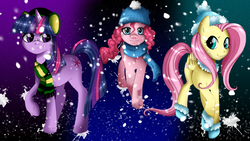 Size: 1920x1080 | Tagged: safe, artist:musapan, fluttershy, pinkie pie, twilight sparkle, earth pony, pegasus, pony, unicorn, clothes, female, mare, photoshop, scarf, smiling, unicorn twilight, unshorn fetlocks, wallpaper, winter