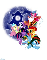Size: 1024x1302 | Tagged: safe, artist:olegsavoskin, applejack, fluttershy, pinkie pie, rainbow dash, rarity, twilight sparkle, earth pony, human, pegasus, pony, unicorn, christmas, clothes, earmuffs, female, flying, hat, mane six, mare, mare in the moon, moon, santa claus, scarf, sleigh, spread wings, unicorn twilight, wings