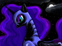 Size: 1890x1417 | Tagged: safe, artist:rsvpixie, nightmare moon, alicorn, pony, female, mare, moon, night, photoshop elements, profile, solo