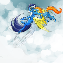 Size: 800x800 | Tagged: safe, artist:nastylady, soarin', spitfire, pegasus, pony, cloud, cloudy, duo, eyes closed, female, flying, goggles, heart, kiss on the cheek, kissing, love, male, mare, photoshop, shipping, soarinfire, spread wings, stallion, straight, wings, wonderbolts, wonderbolts uniform