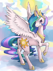 Size: 469x632 | Tagged: dead source, safe, artist:rustystones, princess celestia, alicorn, pony, female, looking at you, mare, raised hoof, solo, spread wings, sun, wings