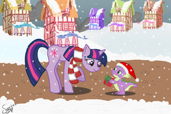 Size: 4500x3000 | Tagged: safe, artist:bronycafe, spike, twilight sparkle, dragon, pony, unicorn, book, christmas, clothes, female, male, mare, photoshop elements, ponyville, present, raised hoof, scarf, smiling, snow, snowfall, unicorn twilight