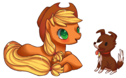 Size: 800x500 | Tagged: safe, artist:mustachu, applejack, winona, dog, earth pony, pony, duo, female, mare, prone, simple background, tongue out, transparent background