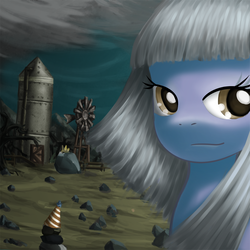 Size: 800x800 | Tagged: safe, artist:saturnspace, limestone pie, rocky, tom, earth pony, pony, bust, farm, female, looking at you, mare, photoshop, portrait, rock, rock farm, smiling, windmill, windswept mane