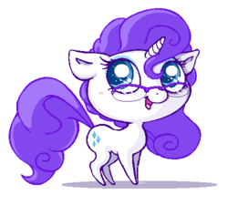 Size: 500x450 | Tagged: safe, artist:basserist, rarity, pony, unicorn, chibi, female, glasses, looking up, mare, simple background, solo, white background