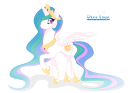 Size: 1024x740   Tagged: dead source, safe, artist:cinyu, princess celestia, alicorn, pony, female, looking at you, mare, raised hoof, simple background, smiling, solo, spread wings, transparent background, wings