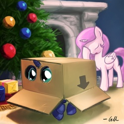 Size: 640x640   Tagged: safe, artist:giantmosquito, princess celestia, princess luna, alicorn, pony, box, cardboard box, caught, cewestia, christmas, christmas tree, cute, duo, eye, eyes, eyes closed, facehoof, female, filly, fireplace, foal, konami, lunabetes, metal gear, open mouth, pink-mane celestia, pony in a box, present, royal sisters, sisters, sneaking, tree, woona, younger