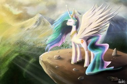 Size: 1920x1280   Tagged: safe, artist:ajvl, princess celestia, alicorn, pony, crepuscular rays, eyes closed, female, mare, mountain, mountain range, photoshop, scenery, solo, spread wings, wings