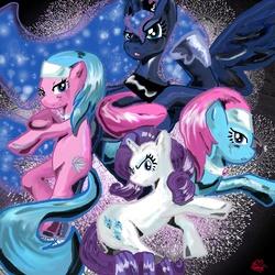 Size: 3000x3000   Tagged: dead source, safe, artist:chouwakaze, artist:lotusmist, aloe, lotus blossom, princess luna, rarity, alicorn, earth pony, pony, unicorn, abstract background, female, high res, mare, photoshop, spa twins