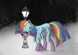 Size: 1500x1060   Tagged: safe, artist:furor1, rainbow dash, twilight sparkle, pegasus, pony, unicorn, adobe imageready, carrying, duo, eyes closed, female, lamppost, lesbian, mare, night, ponies riding ponies, riding, shipping, sleeping, twidash, twilight riding rainbow dash, unicorn twilight