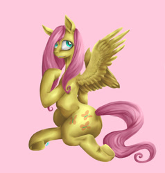 Size: 900x943   Tagged: safe, artist:tzelly-el, fluttershy, pegasus, pony, female, mare, pink background, simple background, solo, underhoof