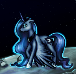 Size: 889x876 | Tagged: dead source, safe, artist:nyarmarr, princess luna, alicorn, pony, banishment, female, hoof shoes, mare, moon, solo, space, stars, wings down