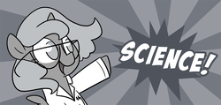 Size: 1053x500   Tagged: safe, artist:egophiliac, princess luna, alicorn, pony, moonstuck, clothes, cute, female, filly, glasses, grayscale, lab coat, monochrome, open mouth, science, science woona, smiling, solo, woona