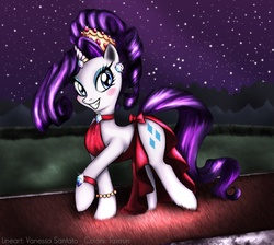 Size: 2179x1954 | Tagged: safe, artist:taliesin-the-dragoon, artist:vanessasan, rarity, pony, unicorn, alternate hairstyle, blushing, clothes, dress, female, happy, horn jewelry, jewelry, mare, night, photoshop, smiling, solo