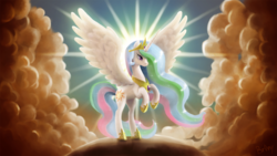 Size: 1920x1080 | Tagged: safe, artist:br0ny, princess celestia, alicorn, pony, 2011, backlighting, beautiful, cloud, cloudy, columbia pictures, crepuscular rays, featured image, female, halo, lidded eyes, majestic, mare, parody, photoshop, praise the sun, rearing, smiling, solo, spread wings, sun, tristar, wallpaper