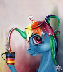 Size: 1100x1250 | Tagged: safe, artist:miradge, rainbow dash, pony, abstract background, female, mare, not salmon, solo, surreal, tea, teapot, wat, weird