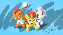 Size: 1920x1080 | Tagged: safe, artist:giantmosquito, apple bloom, scootaloo, sweetie belle, earth pony, meowth, pegasus, pony, unicorn, abstract background, costume, crossover, cutie mark crusaders, kanto pokémon, normal type pokémon, photoshop, pokémon, pokémon (anime), team rocket, team rocket's meowth, wallpaper