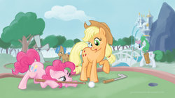 Size: 1920x1080 | Tagged: safe, artist:giantmosquito, applejack, pinkie pie, oc, earth pony, pony, aiming, female, golf, mare, minigolf, mouth hold, wallpaper