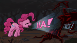 Size: 1920x1080 | Tagged: safe, artist:giantmosquito, pinkie pie, earth pony, pony, friendship is magic, everfree forest, eyes closed, female, laughter song, mare, photoshop, solo, sound effects, tree, wallpaper