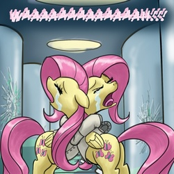 Size: 640x640 | Tagged: safe, artist:giantmosquito, fluttershy, pegasus, pony, clone, crying, dr adorable, duality, female, hug, self ponidox