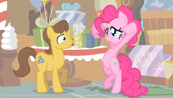 Size: 960x540 | Tagged: safe, artist:giantmosquito, caramel, pinkie pie, earth pony, pony, bipedal, caramel is awesome, duo, female, male, mare, present, sad, stallion, sugarcube corner