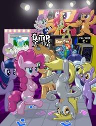 Size: 854x1120 | Tagged: safe, artist:shutterflye, apple bloom, applejack, derpy hooves, dinky hooves, fluttershy, pinkie pie, rainbow dash, rarity, scootaloo, sweetie belle, twilight sparkle, earth pony, pegasus, pony, rabbit, unicorn, arcade, breakdancing, crane game, crossover, cutie mark crusaders, dance dance revolution, dancing, female, filly, flutterrage, guitar hero, mane six, mare, pac-man, photoshop, plushie, rhythm game, unicorn twilight, video game, you're doing it wrong