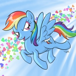 Size: 640x640 | Tagged: safe, artist:giantmosquito, rainbow dash, pegasus, pony, female, flying, heart, mare, solo