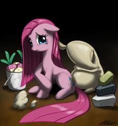 Size: 1020x1093 | Tagged: safe, artist:johnjoseco, madame leflour, mr. turnip, pinkie pie, rocky, sir lintsalot, earth pony, pony, party of one, crying, female, mare, photoshop, pinkamena diane pie, sad