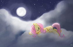 Size: 1139x729   Tagged: safe, artist:sorcerushorserus, fluttershy, pegasus, pony, cloud, cloudy, cute, cutie mark, eyes closed, female, full moon, hooves, lying on a cloud, mare, mare in the moon, moon, night, night sky, on a cloud, prone, shyabetes, sky, sleeping, solo, stars, wings