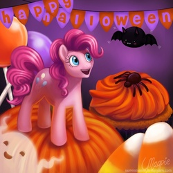Size: 750x750   Tagged: dead source, safe, artist:laurenmagpie, pinkie pie, bat, earth pony, ghost, pony, spider, banner, candy, candy corn, cupcake, female, food, halloween, holiday, jack-o-lantern, lollipop, mare, nightmare night, photoshop, pumpkin, smiling, solo