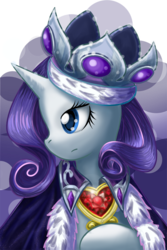 Size: 600x900 | Tagged: safe, artist:saturnspace, princess platinum, rarity, pony, unicorn, abstract background, bust, clothes, costume, female, fire ruby, mare, photoshop, portrait, solo