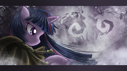 Size: 1920x1080 | Tagged: abstract background, artist:saturnspace, clothes, clover the clever, costume, female, mare, photoshop, pony, safe, solo, twilight sparkle, unicorn, wallpaper