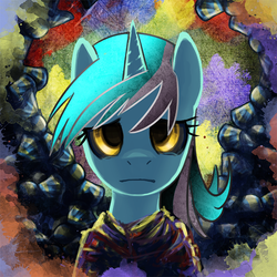 Size: 700x700 | Tagged: safe, artist:saturnspace, lyra heartstrings, pony, unicorn, abstract background, female, mare, photoshop, solo