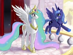 Size: 1500x1134 | Tagged: safe, artist:johnjoseco, princess celestia, princess luna, alicorn, pony, balcony, duo, female, mare, photoshop, royal sisters, s1 luna, underhoof