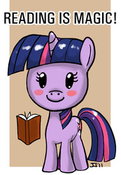 Size: 500x721 | Tagged: safe, artist:johnjoseco, twilight sparkle, pony, unicorn, blushing, book, bookhorse, chibi, cute, female, filly, filly twilight sparkle, photoshop, read, reading, reading is magic, solo, that pony sure does love books, unicorn twilight