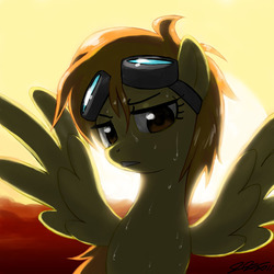 Size: 900x900 | Tagged: safe, artist:johnjoseco, spitfire, pegasus, pony, backlighting, female, goggles, looking at you, mare, photoshop, solo, sweat
